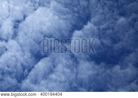 Cirrus Clouds On The Blue Sky Background. Abstract Sketches Of Nature. The Skies Landscape In Summer