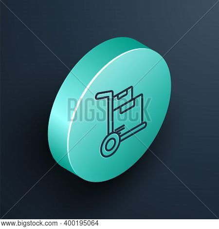 Isometric Line Hand Truck And Boxes Icon Isolated On Black Background. Dolly Symbol. Turquoise Circl