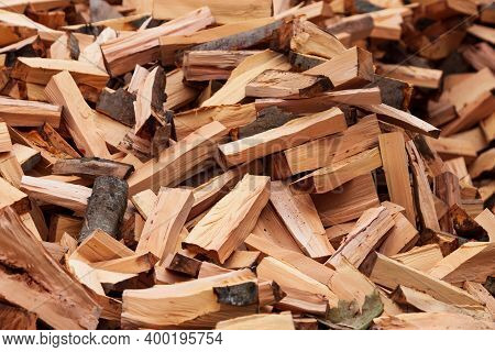 Preparation Of Firewood For The Winter. Firewood Background