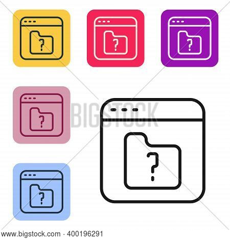 Black Line File Missing Icon Isolated On White Background. Set Icons In Color Square Buttons. Vector