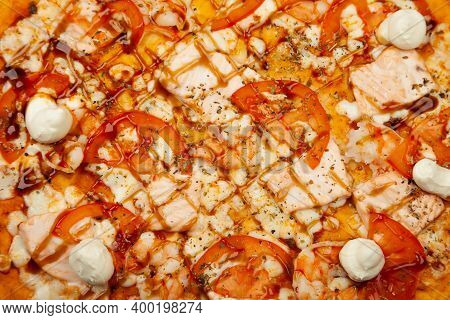 Delicious Philadelphia Pizza Served On A Wooden Plate, Ingredients Signature Sauce, Mozzarella Chees