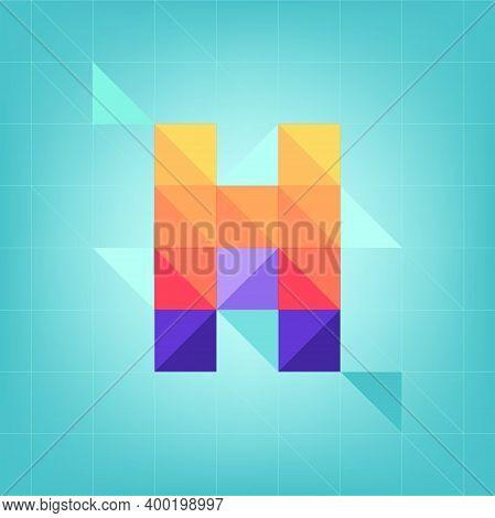 Colorful Cubic Alphabet , Yellow Letter, Blue Background, Geometric Shapes, H