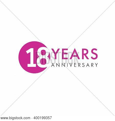 18 Th Anniversary Numbers. 18 Years Old Creative Congrats. Cute Congratulation Concept. Isolated Abs