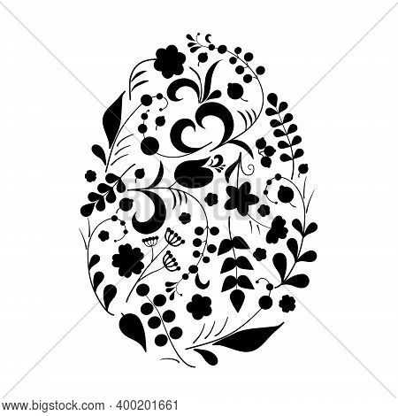 Floral Ornament With Flowers And Berries In Shape Of Egg In Khokhloma Style In Traditional Colors Is
