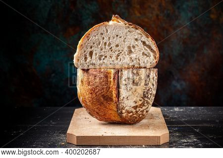 Crumb View Of A Sourdough Bread With Ears