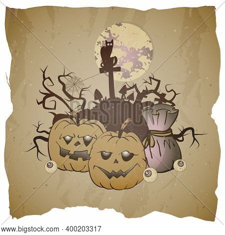 Vector Halloween Illustration With Grinning Pumpkins And Castle On Grunge Background.