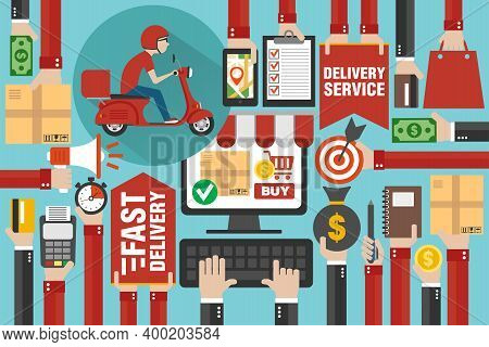 Fast Delivery Package By Scooter. Online Delivery Service. Internet E-commerce. Shopping Online On C