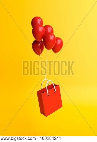 Flying Shopping Bag With Balloons On A Yellow Background. Minimalist Concept. 3d Render Illustration