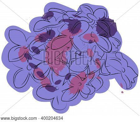 Lilac Flowers Ink Drawing. Vector Illustration Isolated On White.