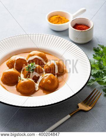 Malai Kofta Curry, Indian Cuisine Dish With Potato And Paneer Cheese, Selective Focus