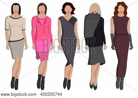 Women's Evening Dresses In Different Colors And Styles Shawl, Skirt, Sweater And More. Vector Illust