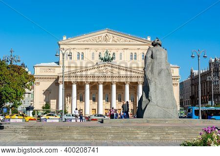 Moscow, Russia - August 2020: Karl Marx Monument And Big (bolshoi) Theater