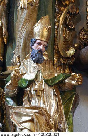 SVETI PETAR MREZNICKI, CROATIA - JULY 14, 2013: St. Nicholas, statue on the altar of st. Barbara at St. Peter's Parish Church in Sveti Petar Mreznicki, Croatia