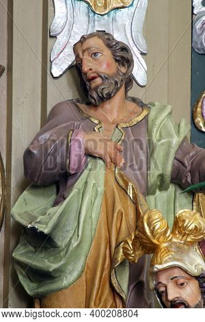 SVETI PETAR MREZNICKI, CROATIA - JULY 14, 2013: Statue of the Saint on the altar of Our Lady of Sorrows in the parish church of St. Peter in Sveti Petar Mreznicki, Croatia