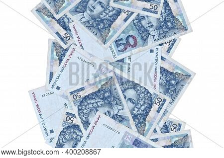 50 Croatian Kuna Bills Flying Down Isolated On White. Many Banknotes Falling With White Copyspace On