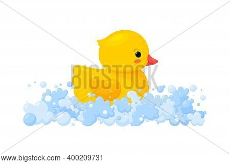 Rubber Duck In Soap Foam With Bubbles Isolated In White Background. Side View Of Yellow Plastic Duck
