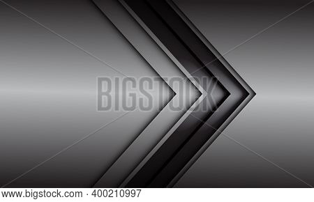 Abstract Grey Black Line Arrow Direction On Grey Metallic Design Modern Futuristic Background Vector