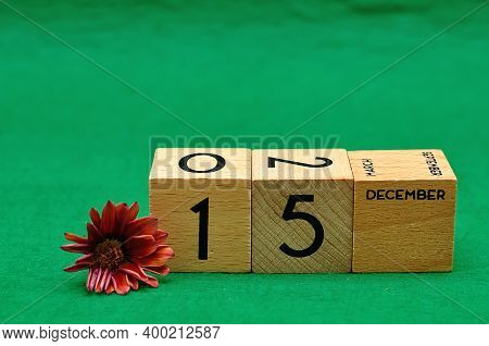 15 December On Wooden Blocks With An African Daisy On A Green Background