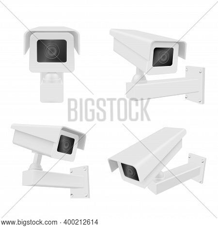 Surveillance Camera Realistic Set. Front, Side View. Security, Watching Equipment. External Cctv.