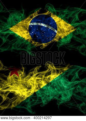 Brazil, Brazilian Vs Brazil States Acre Smoky Mystic Flags Placed Side By Side. Thick Colored Silky