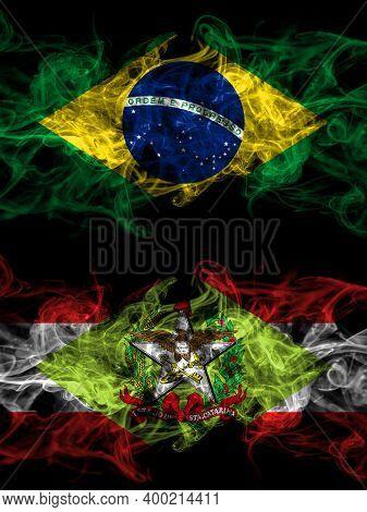 Brazil, Brazilian Vs Brazil, Brazilian, Santa Catarina Smoky Mystic Flags Placed Side By Side. Thick