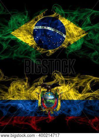 Brazil, Brazilian Vs Ecuador, Ecuadorian Smoky Mystic Flags Placed Side By Side. Thick Colored Silky