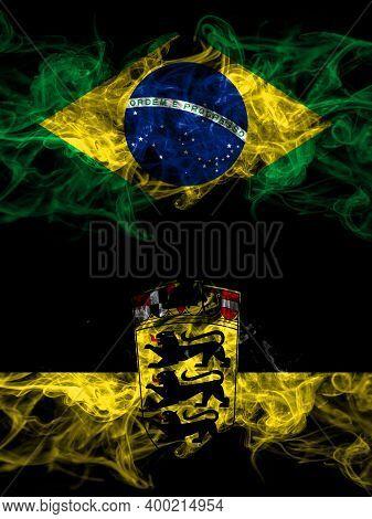 Brazil, Brazilian Vs Germany, German, Deutschland, Baden Wurttemberg Smoky Mystic Flags Placed Side