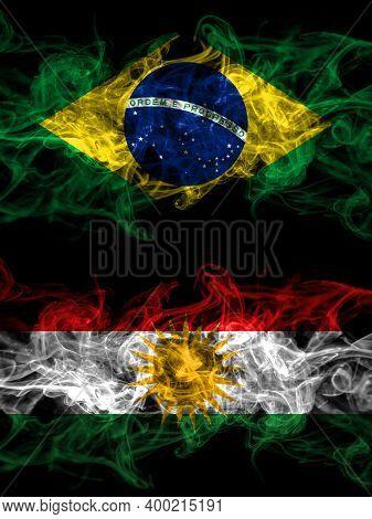 Brazil, Brazilian Vs Kurdistan, Kurdish, Kurds Smoky Mystic Flags Placed Side By Side. Thick Colored