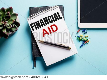 On A Light Blue Background, There Is A Potted Plant, A Tablet And A Weekly With The Text Financial A