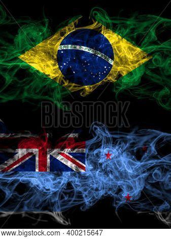 Brazil, Brazilian Vs New Zealand, Ross Dependency Smoky Mystic Flags Placed Side By Side. Thick Colo