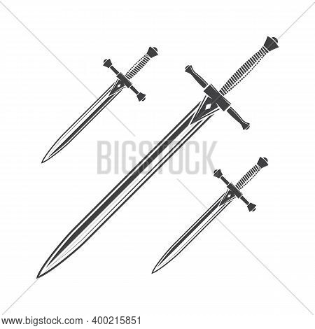 Knife, Dagger And Sword Isolated On The White Background. Vector Illustration. Knight Equipment Icon