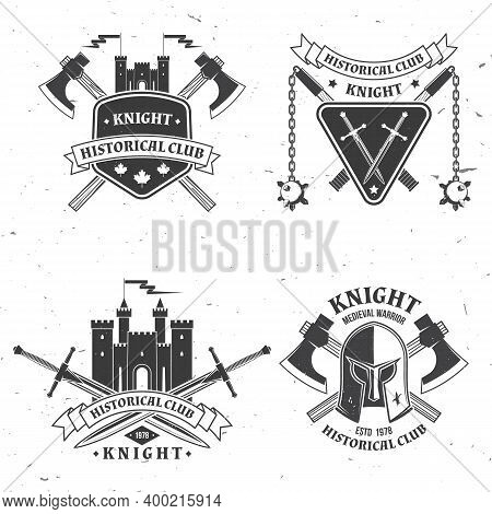 Set Of Knight Historical Club Badge Design. Vector Illustration Concept For Shirt, Print, Stamp, Ove