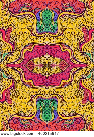 Juicy Psychedelic Colorful Mandala Flower With Curly Elegance Lines Pattern. Fantastic Art With Deco
