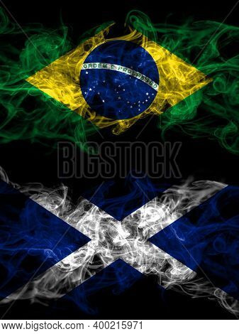 Brazil, Brazilian Vs Scotland, Scottish, Scots Smoky Mystic Flags Placed Side By Side. Thick Colored