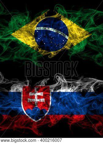 Brazil, Brazilian Vs Slovakia, Slovakian Smoky Mystic Flags Placed Side By Side. Thick Colored Silky