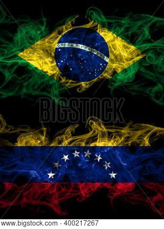Brazil, Brazilian Vs Venezuela Smoky Mystic Flags Placed Side By Side. Thick Colored Silky Abstract