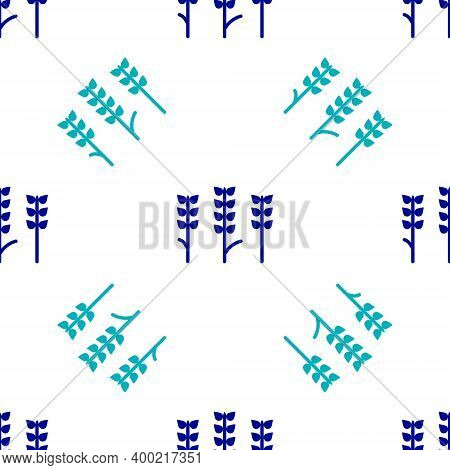 Blue Cereals Set With Rice, Wheat, Corn, Oats, Rye, Barley Icon Isolated Seamless Pattern On White B