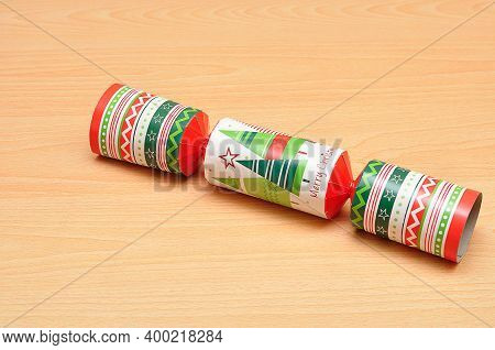 A Colorful Christmas Cracker On A Table