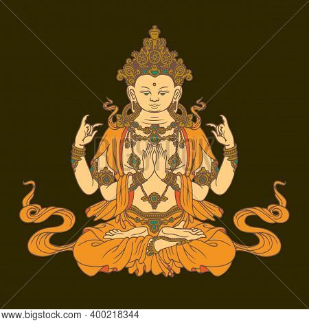 Banner With Hand-drawn Buddha Shakyamuni On A Dark Background. Decorative Vector Illustration Of Sit