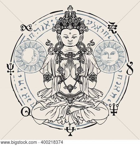 Banner With A Seated Buddha Meditating In The Lotus Position. Decorative Vector Illustration Of Hand