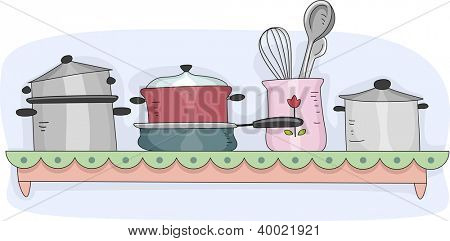 Illustration of a Kitchen Shelf Filled with Cooking Equipment