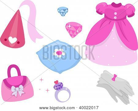 Illustration of Princess Related Design Elements
