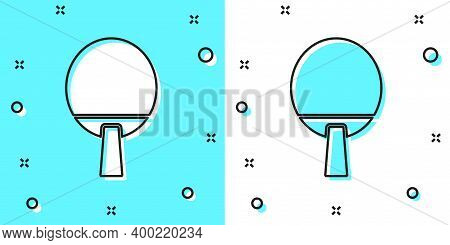 Black Line Racket For Playing Table Tennis Icon Isolated On Green And White Background. Random Dynam