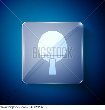 White Racket For Playing Table Tennis Icon Isolated On Blue Background. Square Glass Panels. Vector