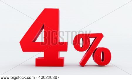 Red Four ( 4 ) Percent Isolated  On A White Background., 4 Percent Off, 3d Render