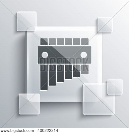 Grey Pan Flute Icon Isolated On Grey Background. Traditional Peruvian Musical Instrument. Folk Instr