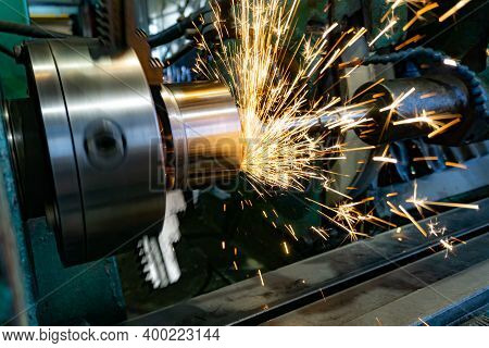 External Grinding Of A Part With An End Wheel On A Circular Grinding Machine.