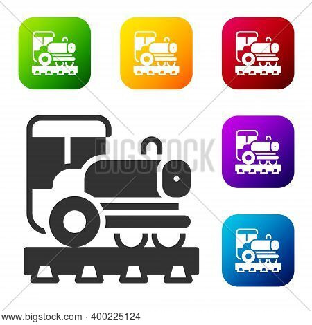 Black Vintage Locomotive Icon Isolated On White Background. Steam Locomotive. Set Icons In Color Squ
