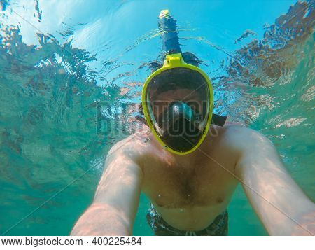 Man With Snorkeling Mask Underwater Summer Sea Vacation