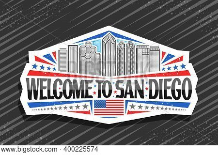 Vector Logo For San Diego, Decorative Sticker With Outline Illustration Of Famous City Scape On Day